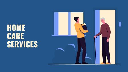 Vector concept colorful illustration of a girl handing groceries to an elderly man on the porch of the house. It represents a concept of home care service, help for the elderly people during pandemic isolation
