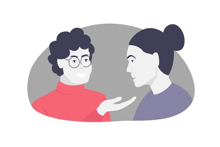Vector concept colorful illustration of two people having a conversation. Two women talking and smiling. The older woman gives advice to the younger girl Stock Illustratie