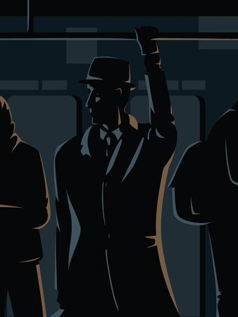 Vector concept dark illustration of a man standing in the subway car holding a handrail. Dark illustration with shadows of a man in hat, suit and coat. Intelligencer, spy, secret agent under cover