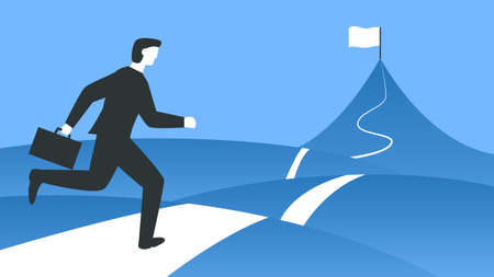 Vector colorful illustration of a businessman with a briefcase running to the top of the mountain. Represents concept of overcoming difficulties, achieving the goal, business growing and moving forward