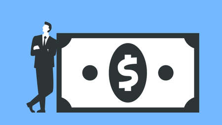 Vector illustration of a businessman standing next to the big dollar bill. Represents concept of finance, economy, banking, bankers, money, paper money, investment, currency