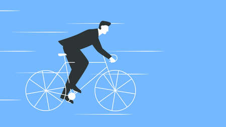 Vector colorful illustration of a businessman in a suit riding a bicycle. Man in suit riding a bike fast. Represents concept of success, motivation, healthy lifestyle, achieving a goal, moving forward Illustration