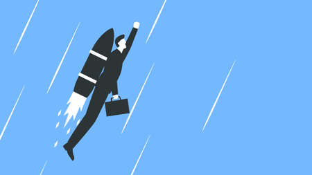 Vector colorful illustration of a businessman in a suit with a briefcase flying up with a rocket behind the back. Man in suit takes off with a rocket speed. Represents concept of business growth and success Vettoriali