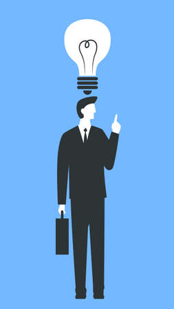 Vector concept colorful illustration of a businessman with a creative idea. Man in a suit and with a briefcase standing with a light bulb over his head. Represents concept of creativity and good business ideas