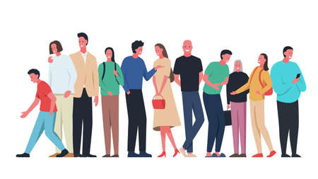 Group of different people standing flat vector illustration. Men, women and children standing wearing bright and sylish clothes and happy smiling faces. Represents concept of unity, communication