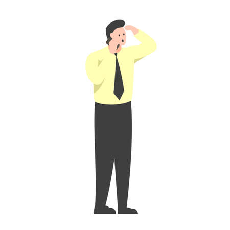Vector colorful illustration of an office worker standing and talking on the phone. Man in a yellow shirt and tie talking on the phone with surprised face and hand near the head. Man receiving unexpected news Vectores