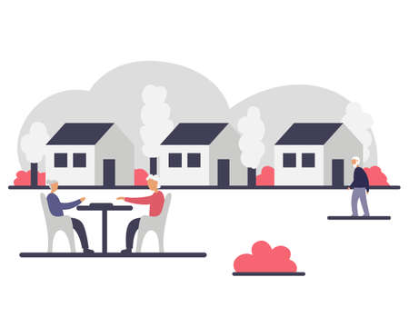 Independent living of senior people in a community concept vector colorful illustration. Exterior of three houses and outdoor activities of elderly people. Seniors playing board games and walking on the lawn