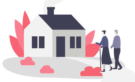 Senior couple walking to the house. Beautiful small cozy house and elderly man and woman walking on the front lawn. Flat vector illustration of a residential house building exterior with plants