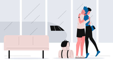 Young man meets and hugs a girl at the airport. The couple meeting other after a long separation. Vector concept illustration of an airport interior with the girl returning from a trip with suitcases