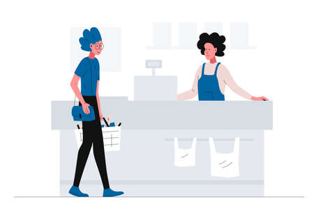 Girl with a shopping cart coming to the checkout in the supermarket. Smiling cashier waiting for the buyer in a supermarket. Vector concept illustration of self-service store interior with customer Ilustrace