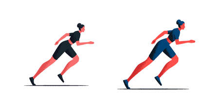 Female athlete starting her sprint on a running track. Two vector illustrations of a sporty girl running in fashionable sportswear. Side view of attractive female runner. Sport and healthy lifestyle