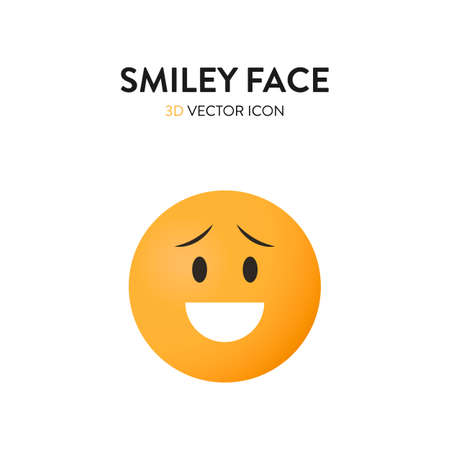 3d smiley face icon. Vector illustration of a smiley face with trendy and bright color gragient. Emoticon smile sign
