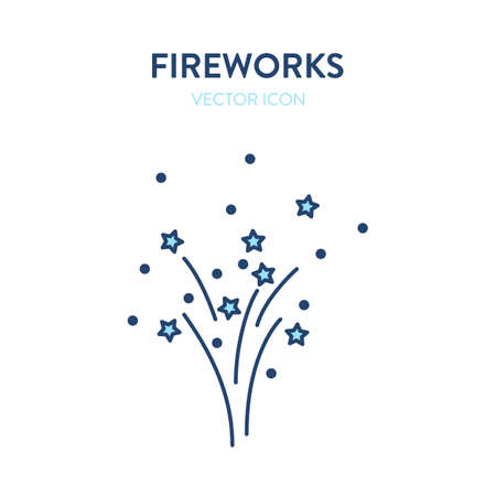 Firework icon. Lighted fireworks exploding in the sky. Vector colorful outline illustration of a firecracker