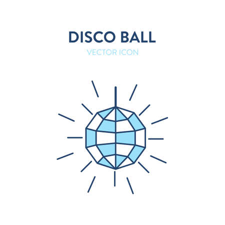 Disco ball icon. Vector illustration of a bright and colorful night party disco ball. Represents concept of lighting decoration elements at the night party