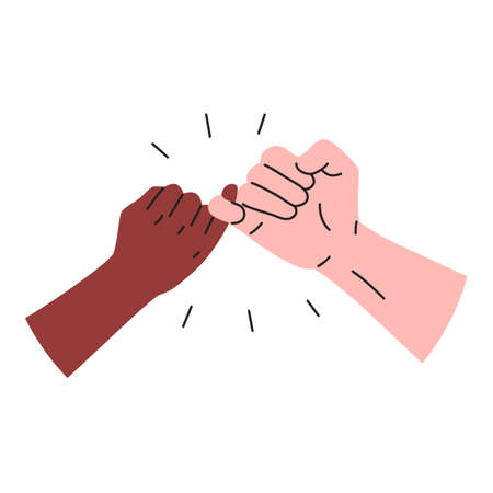 Hooking little fingers icon. Vector illustration of black and white interracial hands holding little fingers. Concept of promise, friendship sign Illustration