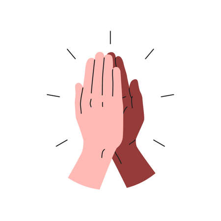 High five icon. Vector illustration of two hands giving a high five for great work. Black and white interracial hands giving high five. People team give hand slapping gesture 向量圖像