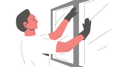 Worker installing a window. Vector colorful illustration of a male constructor in glasses and gloves fixing, replacing or installing new window in the house