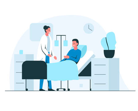 Female doctor talking to a patient in a hospital ward. Friendly doctor cheking on a patient during the hospital round. Vector colorful illustration of a smiling man in bed recovering in hospital ward interior