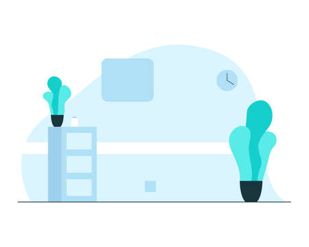 Empty hospital ward interior. Vector concept colorful illustration of a modern hospital ward interior with locker, plants, wall clock and medecine bottle. Concept of hospital rooms atmosphere and equipment