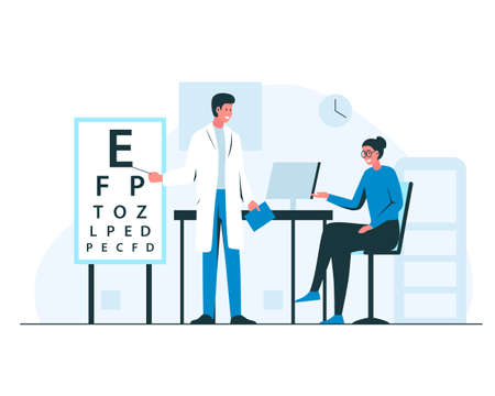 Ophthalmologist appointment interior. Vector concept colorful illustration of male doctor oculist in the cabinet consulting female patient in eyeglasses and cheking her eyesight with a letters on a white board