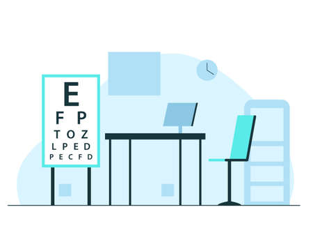 Ophthalmologist office interior. Vector concept colorful illustration of optometrist office modern interior with white board with letters for eyesight check, desk, chair, computer and shelf. Empty oculist room Stock Illustratie