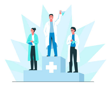 Discovery of a vaccine concept. Vector colorful illustration of three happy smiling scientists on the podium with chemical flasks in their hands. Medical research, successful vaccine development, recognition