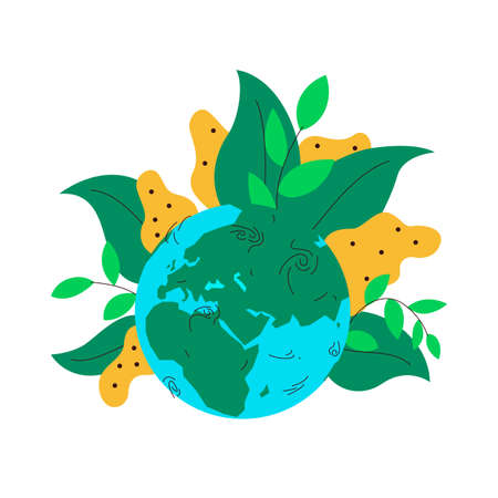 Tropical vegetation on the globe. Vector concept illustration of earth globe with lush and big tropical plants growing on it. Represents concept of planting, green spaces, flowers, rainforests, plants