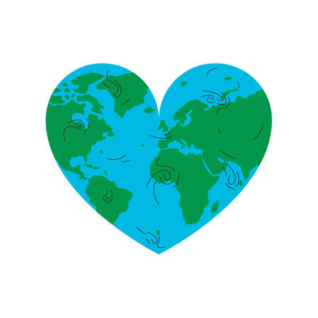 Earth physical map in a shape of a heart. Vector concept illustration of a blue and green earth planet in a heart shape. Represents concept of nature, travel, environmental conservation and love