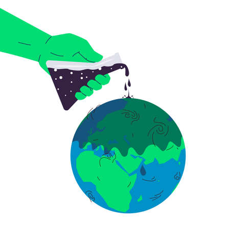 Environmental pollution concept. Vector illustration of a hand pouring out poison from a flask onto the globe. Concept of chemical pollution, hazardous waste, toxic industrial waste, oil spill