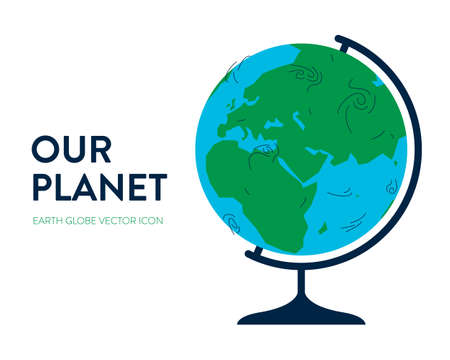 Earth globe icon. Vector illustration of a blue and green geographic school earth globe with physical world map. Round sphere on a stand with environmental slogan