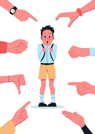 Bullying school poster. Vector illustration of a shy confused boy with backpack stands at school and others laughing and mocking at him and point fingers at him. School bullying, intimidation, scare