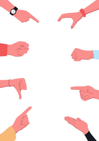 Bullying concept poster template. Vector illustration of hands, arms, fists and pointing fingers as a template for representing bullying of somebody. School bullying, intimidation, offense, abusive