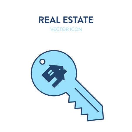 House key icon. Vector colorful illustration of a key with a small house image on it representing purchase of real estate, home, apartment. Handover of apartment keys vector icon