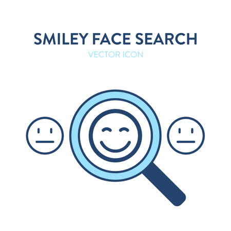 Smiley face search icon. Vector colorful illustration of a magnifier tool zooming and highlighting one of the smiley faces. Represents concept of searching and finding icon, symbol, emoji, smiley face
