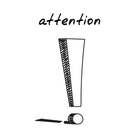 Exclamation point handdrawn icon. Cute vector illustration of an exclamation mark. Outlined sketch of a concept of attention, making a point, attract attention, point out