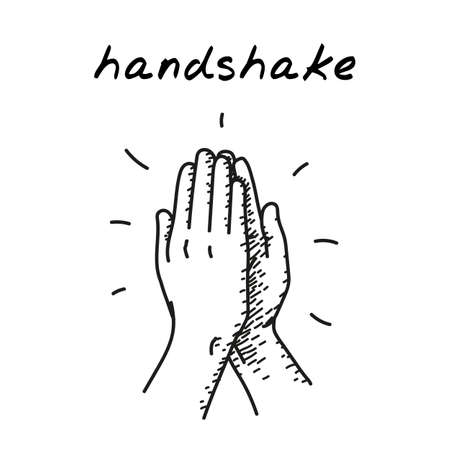 High five handdrawn illustration. Cartoon clip art of two hands giving high five for great work. Black and white sketch of people give hand slapping gesture. Concept of teamwork, unity, sport