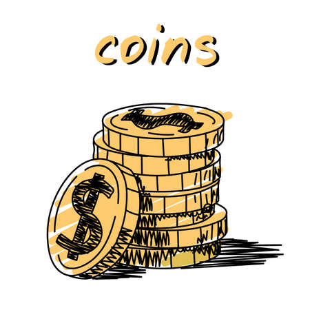 Stack of coins hand-drawn illustration. Cartoon vector clip art of a stack of coins with a dollar sign on it. Black and white sketch of yellow golden dollar coins