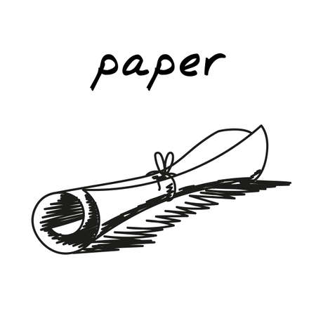 Scroll hand-drawn illustration. Cartoon vector clip art of an old paper document tied with thread. Black and white sketch of the concept of ancient times, archaeological finds, knotted manuscript  イラスト・ベクター素材