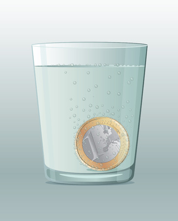 Aspirin-like Euro coin inside a glass of water