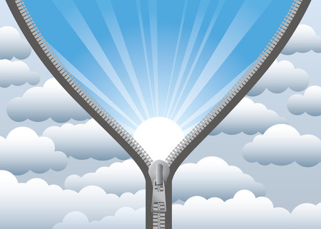 tunnel light: Cloudy sky being cleared by opening a zip   Illustration