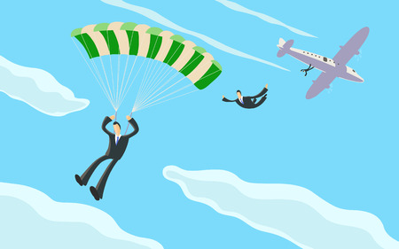 A businessman sky diving from a plane and opening his parachute