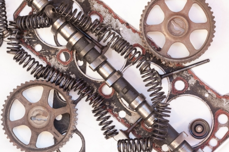 engine parts: disassembled engine parts,spring-valve, gear-wheel