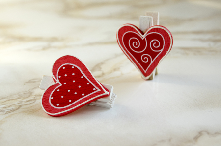Happy valentines day, two red hearts, simplicity, fall in love