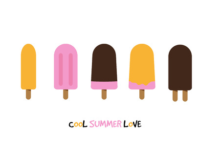 Five ice creams on white background with text cool summer love