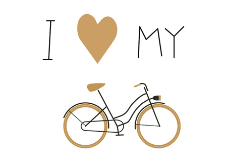 I love my bike text and bicycle icon