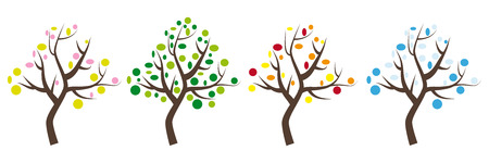Four seasons, trees icons wih leaves in spring, summer, autumn and winter Stock Photo