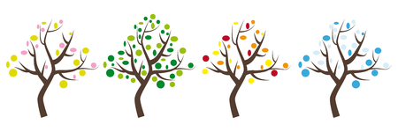 Four seasons, four trees, icons with trunk and leaves in spring, summer, autumn and winter