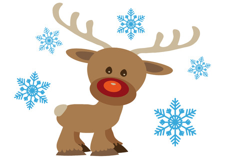 Christmas card with cartoon Rudolf reindeer and snowflakes