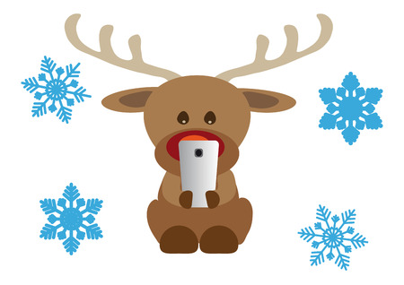 Funny Christmas card, reindeer with mobile phone and snowflakes