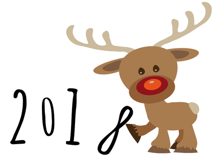 Little funny baby cartoon reindeer supporting number eight in numerical year, pour feliciter 2018 graphic Illustration